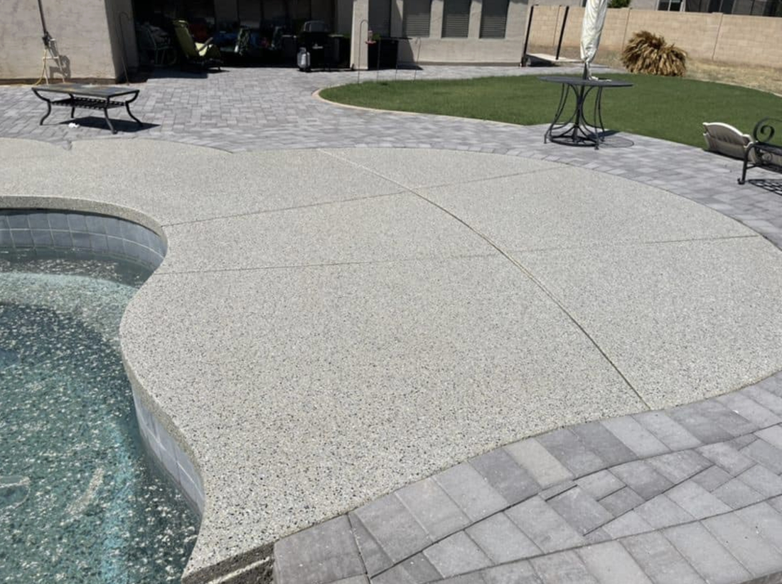 this image shows pool deck in Diamond Bar, California