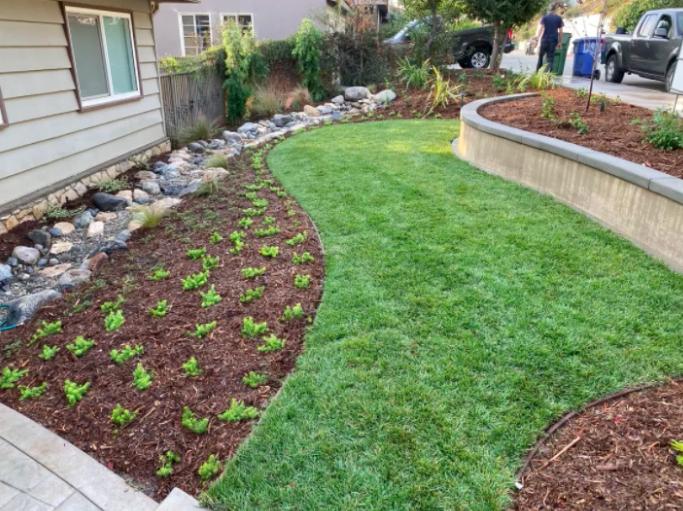 this image shows turf installation in Diamond Bar, California